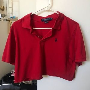 vintage cropped red Ralph Lauren polo